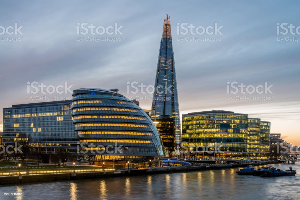 London Cityscape Dusk and River Thames at Twilight stock photo