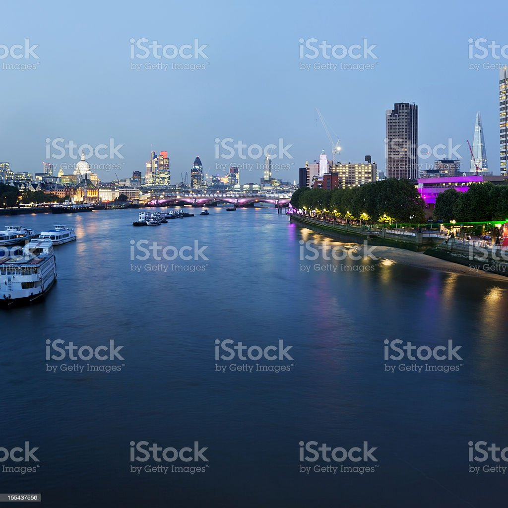 London - Cityscape looking East at dusk stock photo
