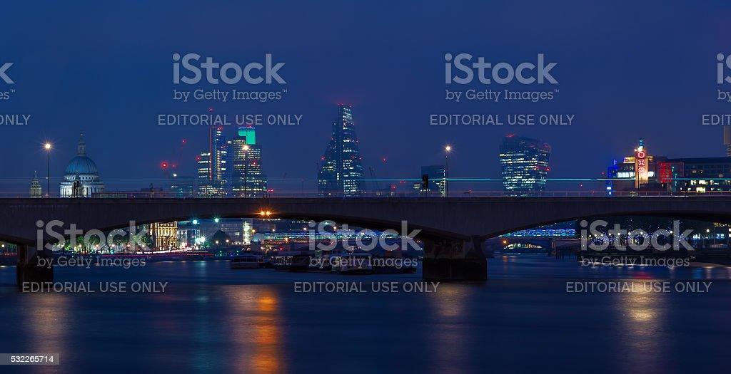 London Cityscape Through Waterloo Bridge stock photo