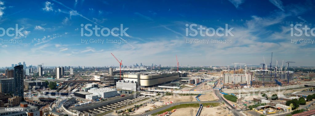 London cityscape, urban regeneration area, 2012 sporting event stock photo