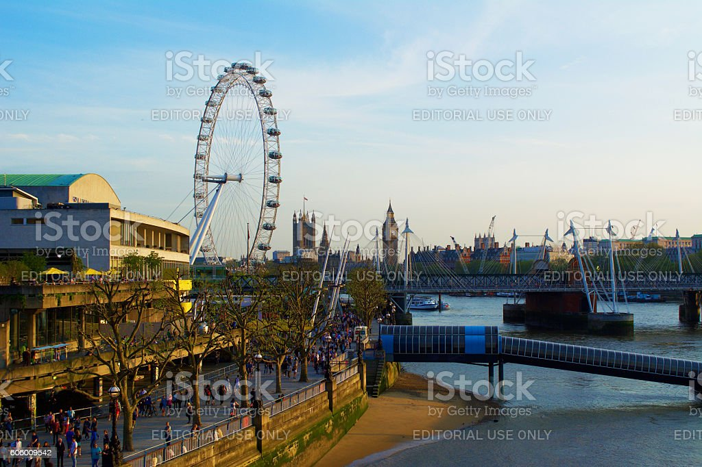 London Cityscape with Big Ben and London Eye stock photo