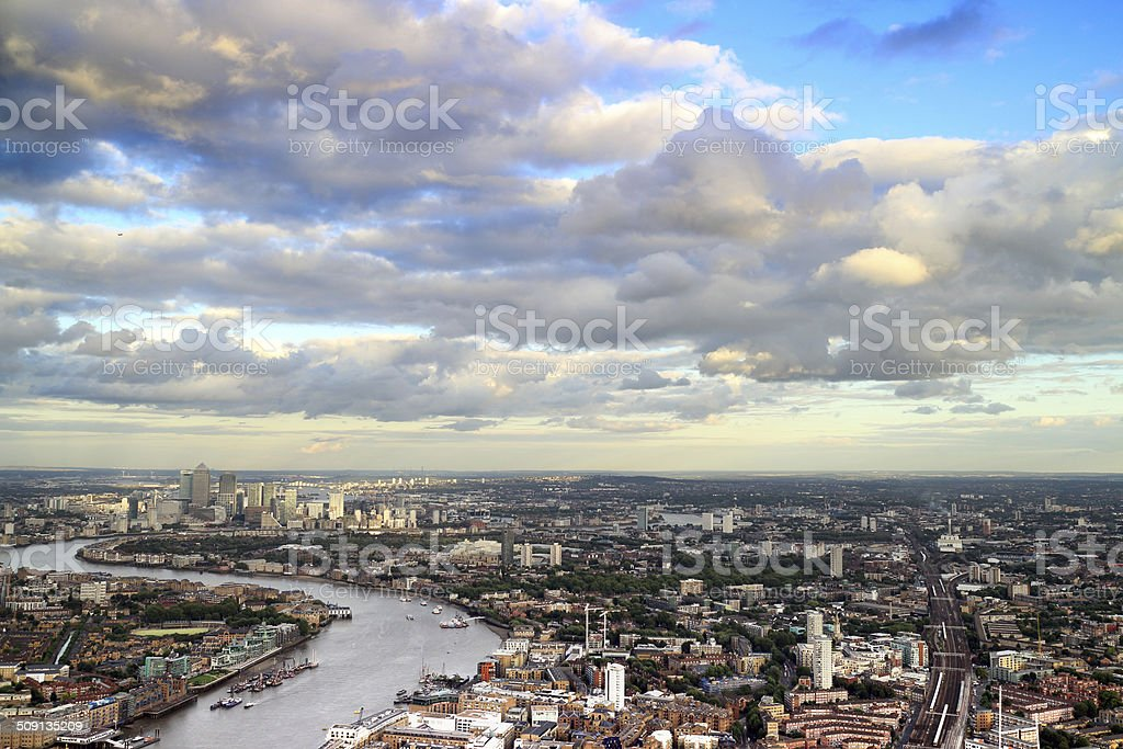 London Cityscape with Canary Wharf in the distance skyline stock photo
