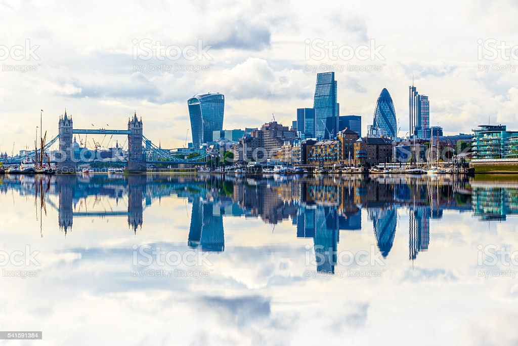 London Cityscape with Reflection from Thames stock photo
