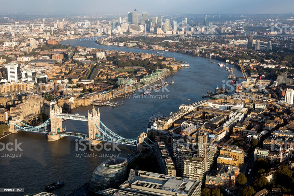 London Cityscape with Tower Bridge stock photo