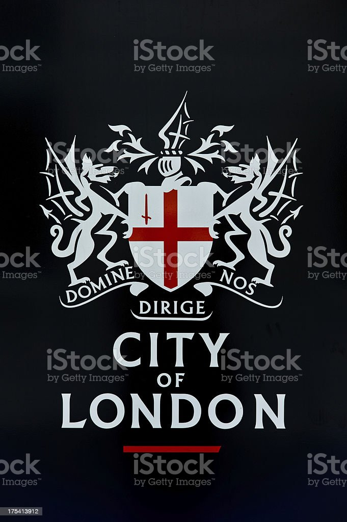 london coat of arms against black background stock photo