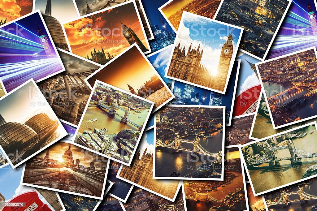 london collage of frames stock photo