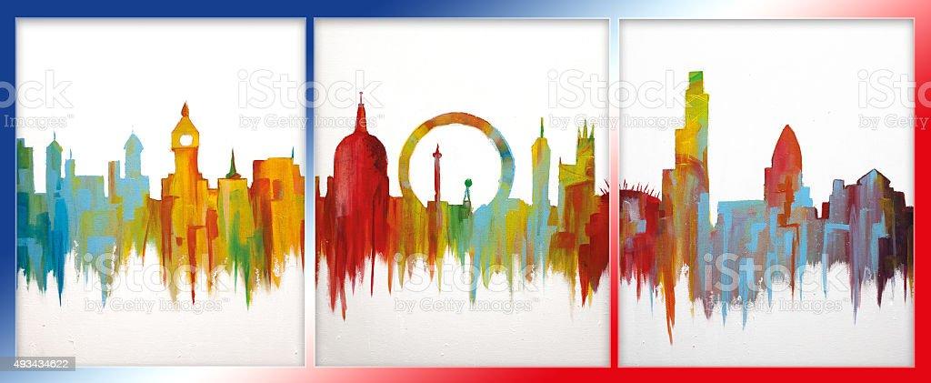 London colorful art acrylic painting stock photo