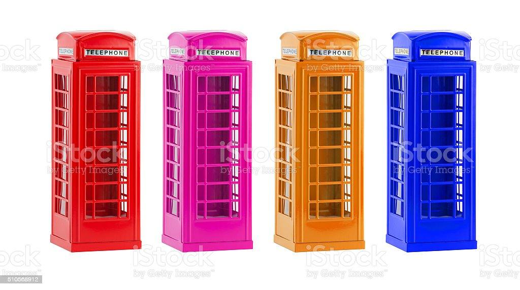 London colorful telephone boxes(souvenir) on white background stock photo