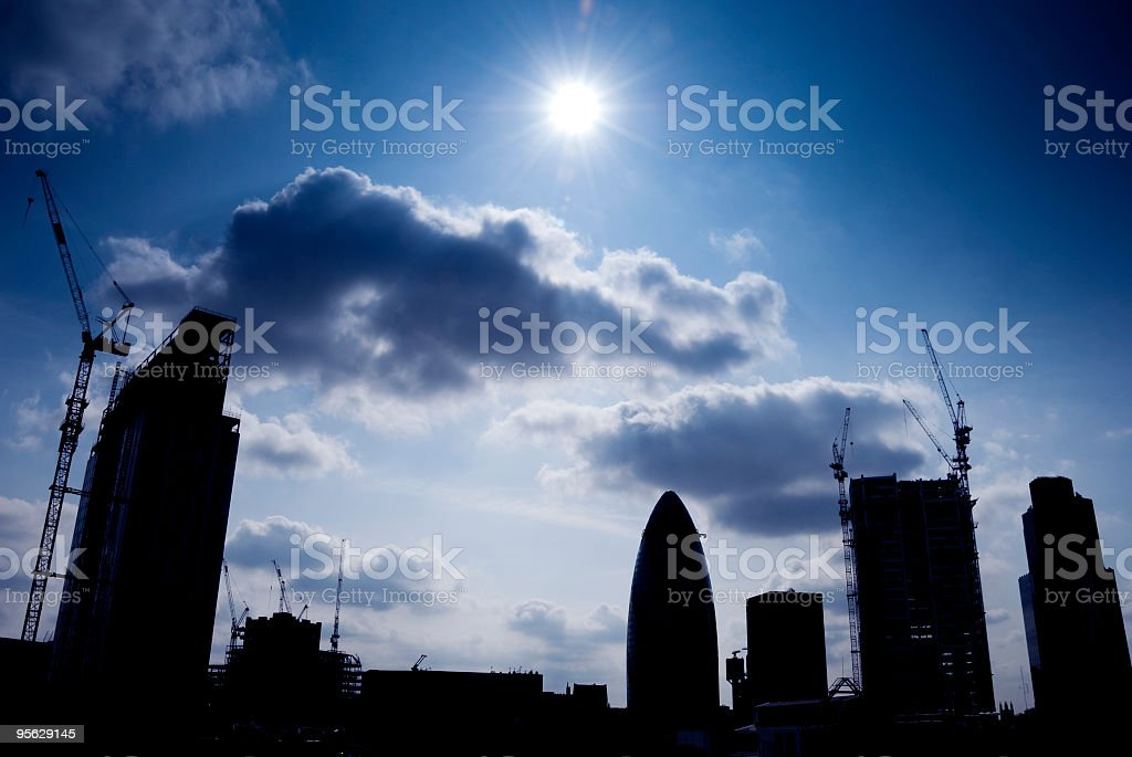 London construction skyline silhouette royalty-free stock photo
