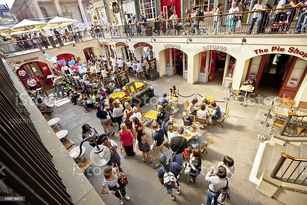 London Covent Garden viewed from above at lunch time stock photo