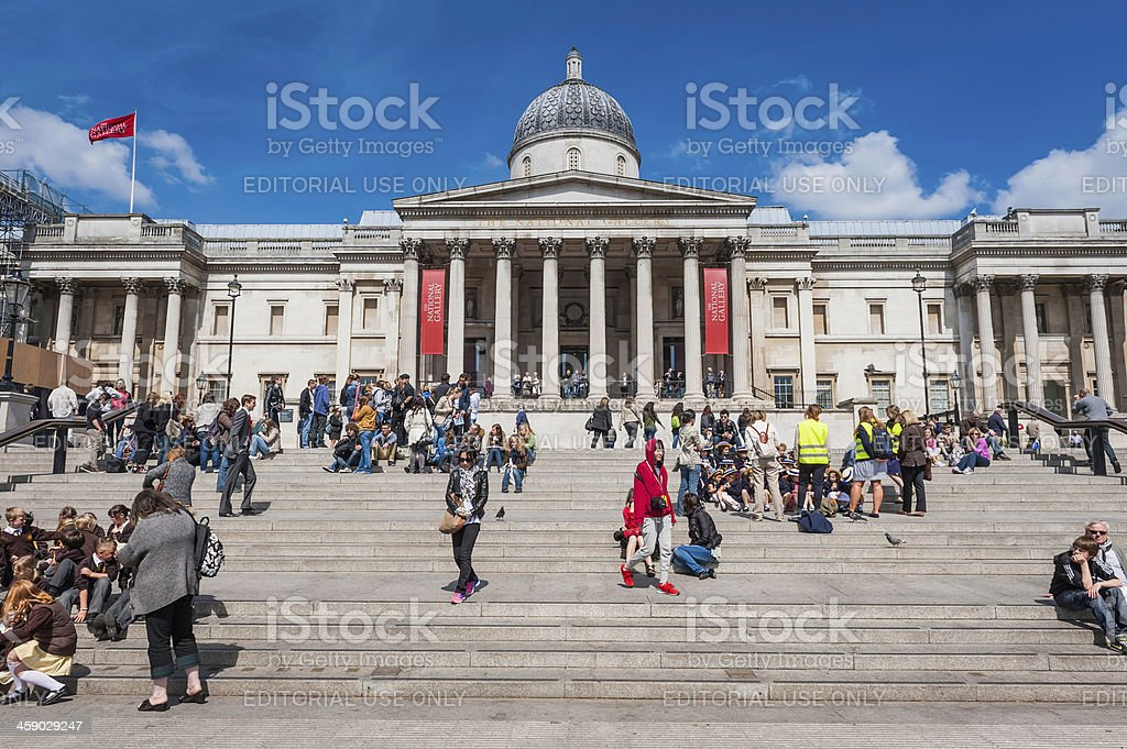 London crowds of people at National Gallery in Trafalgar Square royalty-free stock photo