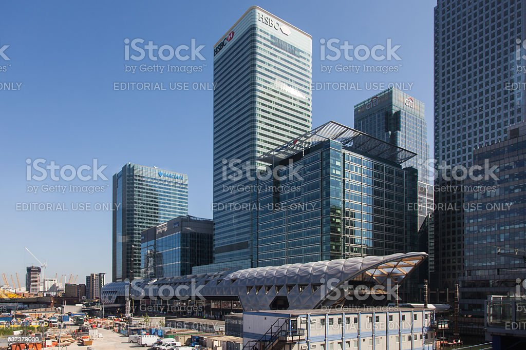 London Docklands and Crossrail Place, the new Canary Wharf station stock photo