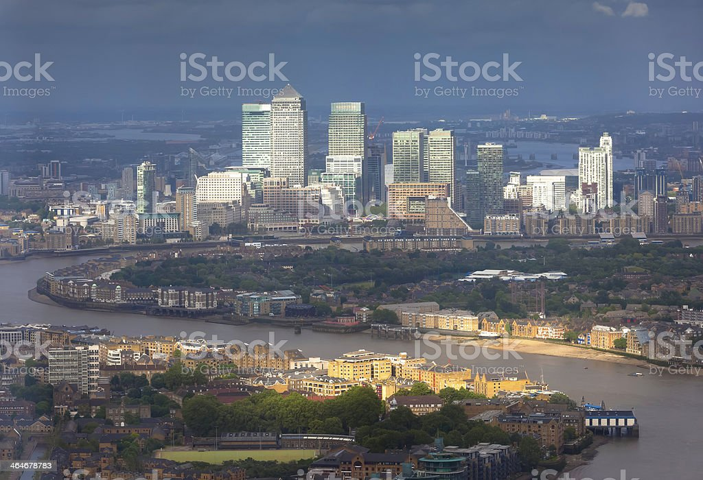 London Docklands Skyline In Stormy Light stock photo