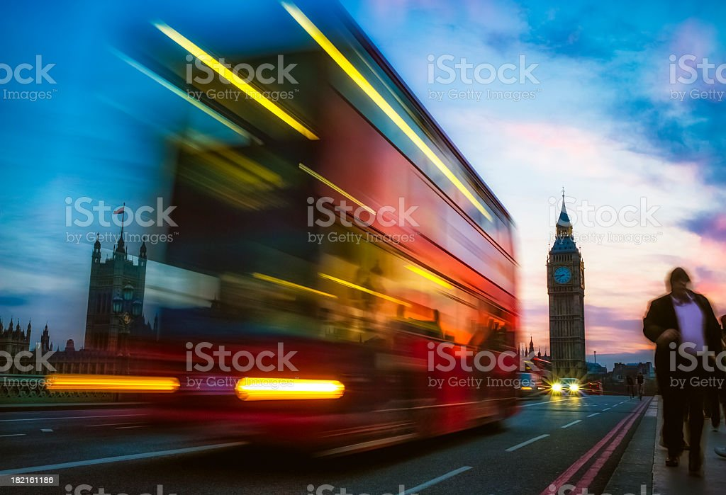 London Double Decker Bus and People against Big Ben stock photo