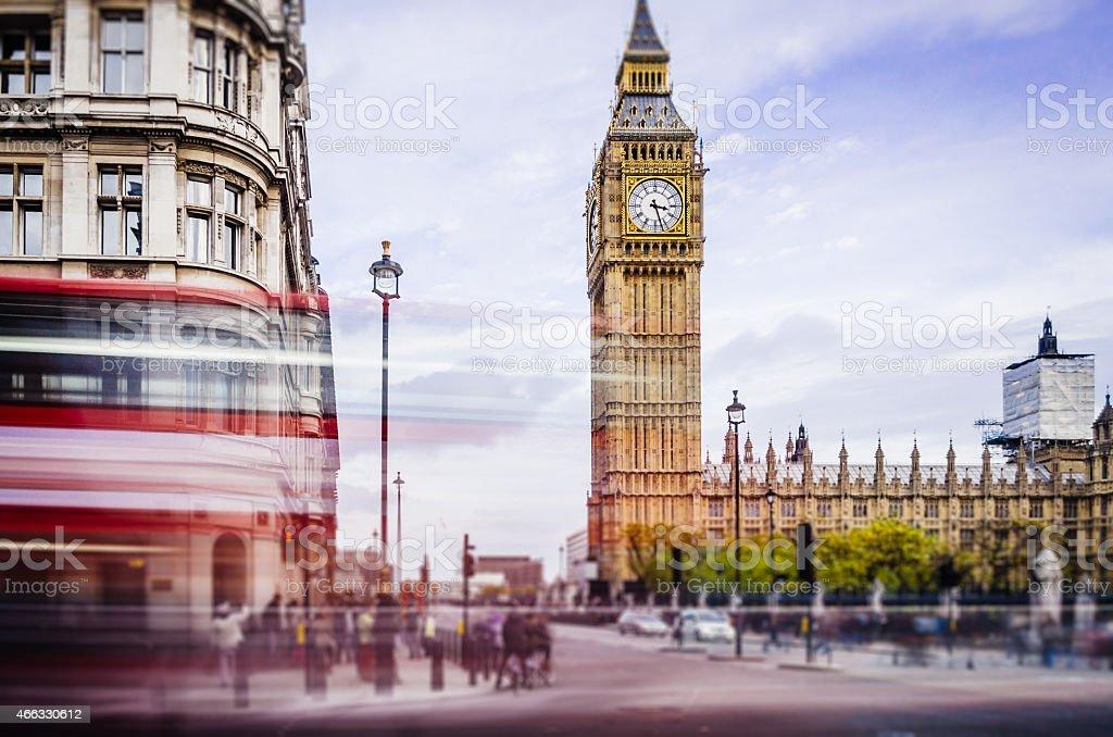 London Double Decker Bus Near Big Ben Tower stock photo