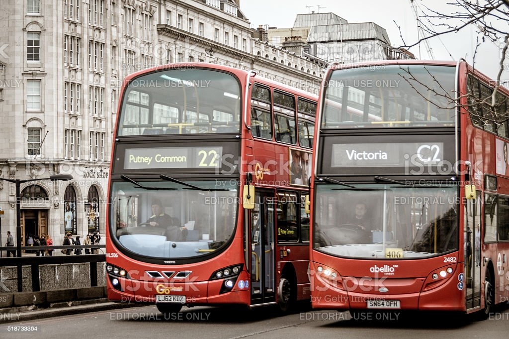 London double decker red buses stock photo