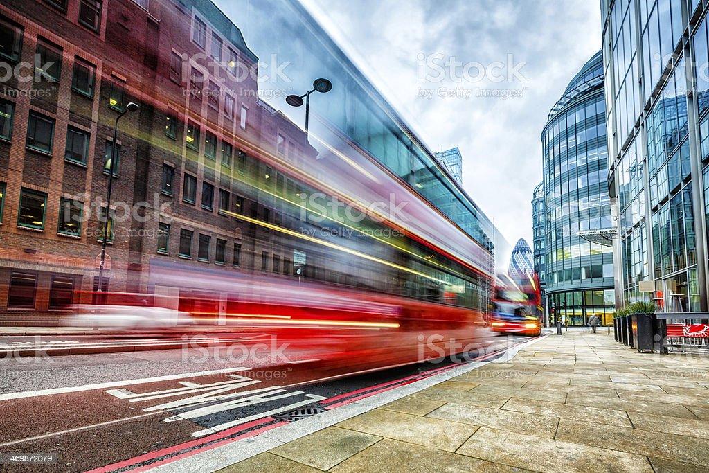 London double-decker bus at Bishopsgate stock photo