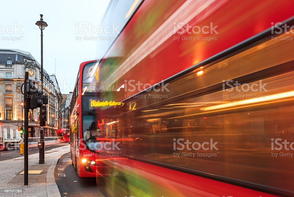 London, double-decker buses at Charing Cross junction stock photo