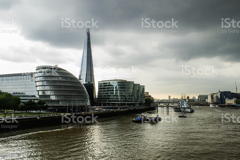 London dramatic Thames river royalty-free stock photo