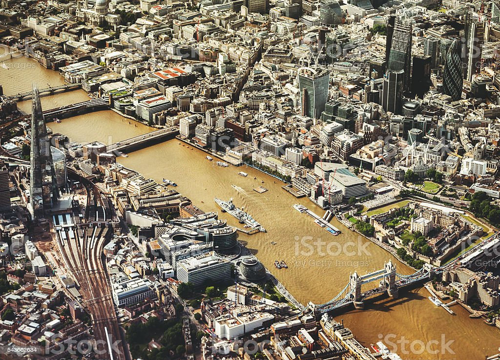 London early morning skyline aerial view stock photo