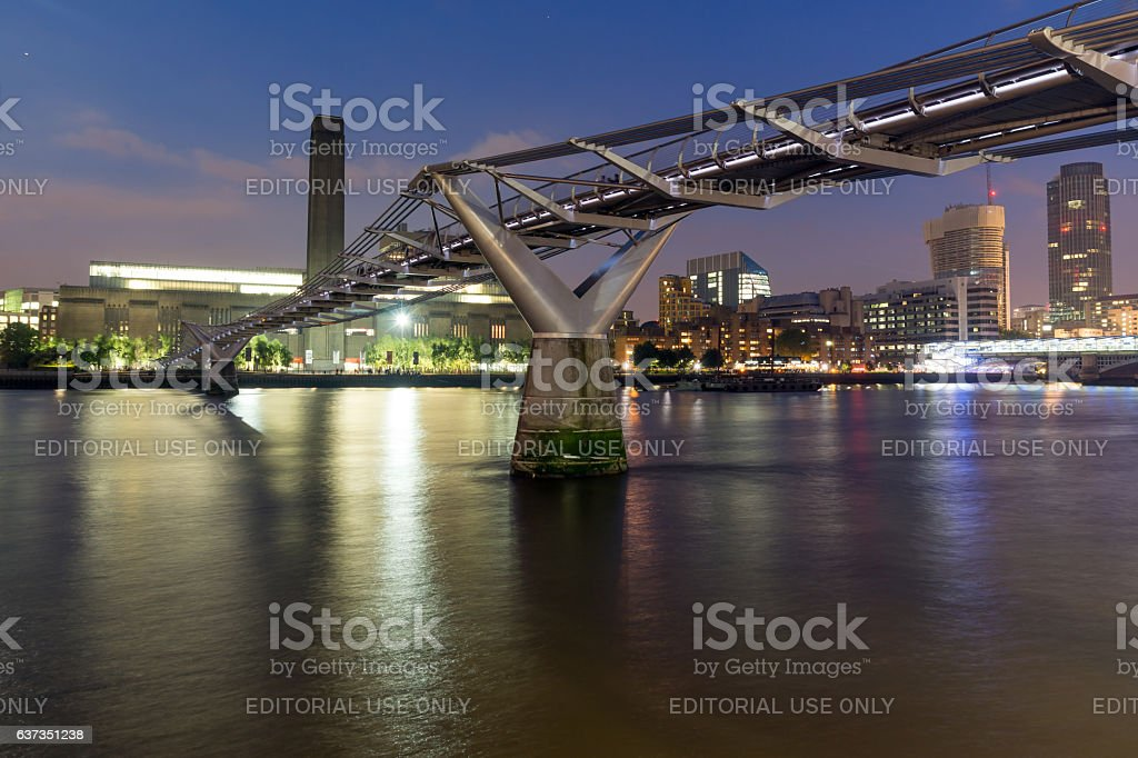 London, England, June 17 2016: Night Panorama of Millennium Bridge stock photo