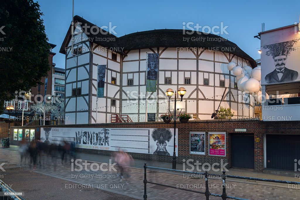 London, England, June 17 2016: Night photo of Shakespeare's Globe stock photo
