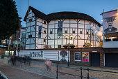 London, England, June 17 2016: Night photo of Shakespeare's Globe