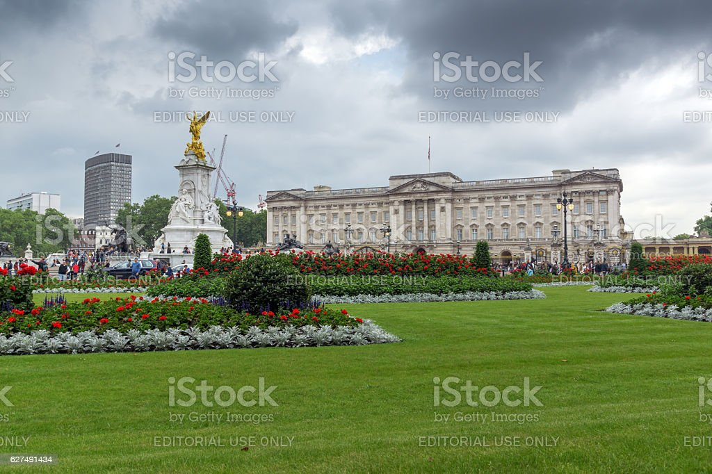 London, England - June 17 2016: Panorama of Buckingham Palace stock photo
