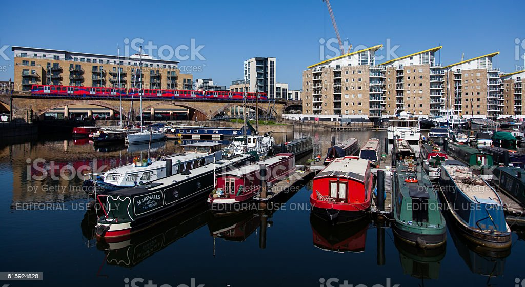 London, England, Limehouse Basin DLR Train Passes stock photo