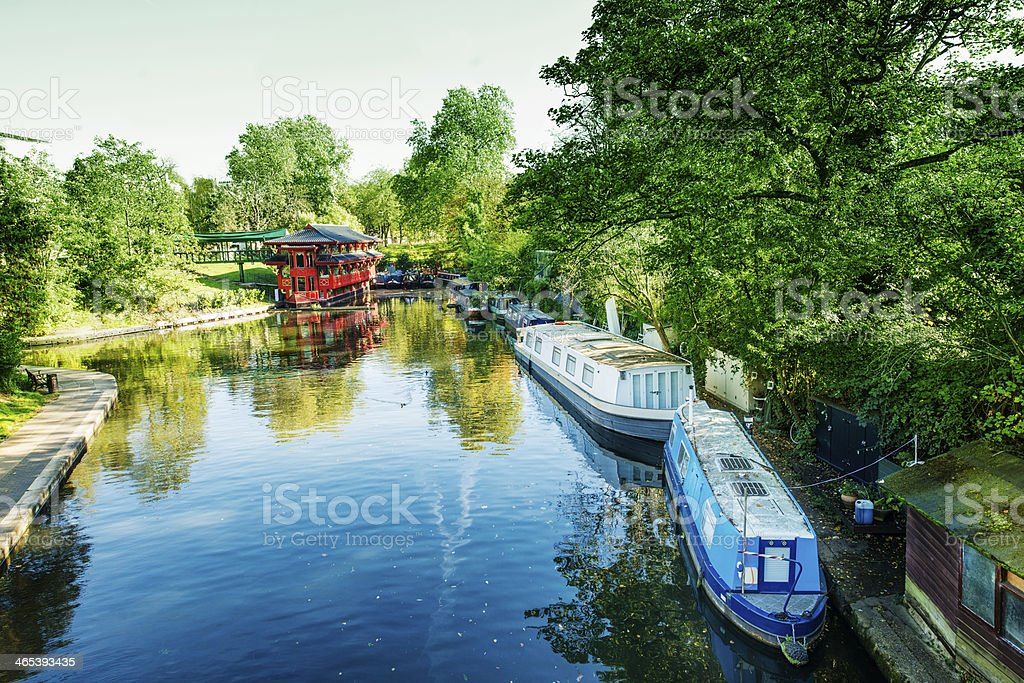 London England Regent's Canal Boats on Camden Lock Water stock photo