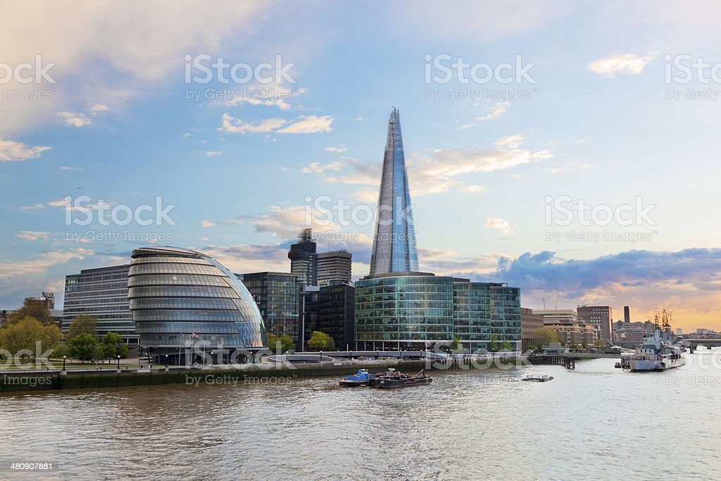 London, England. The Shard, City Hall, River Thames stock photo