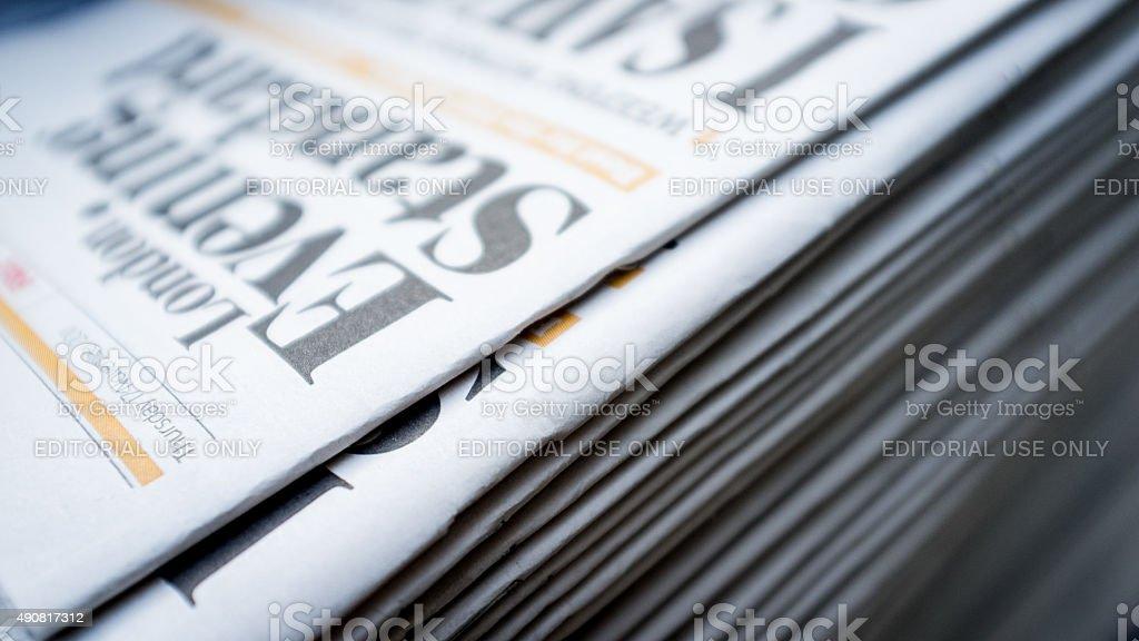 London Evening Standard newspaper stock photo