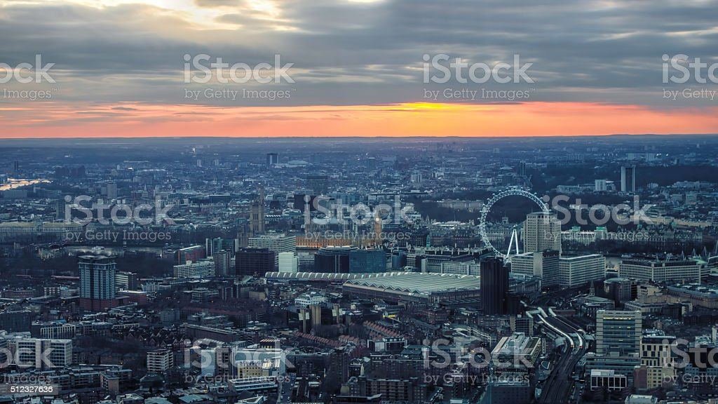 London Evening Sunset View. Toward London Eye, Houses of Parliament. stock photo