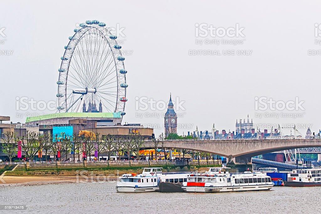 London Eye and Big Ben near Waterloo Bridge in London stock photo