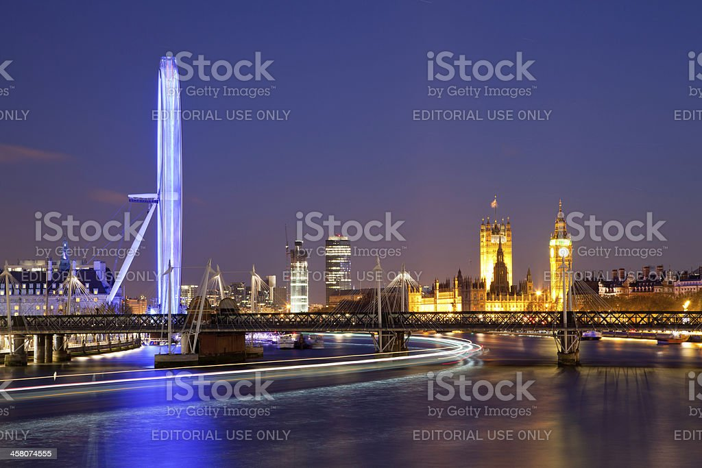London Eye and Big Ben Over River Thames royalty-free stock photo