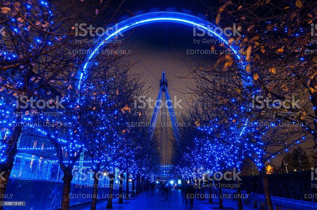 London Eye and Christmas lights stock photo