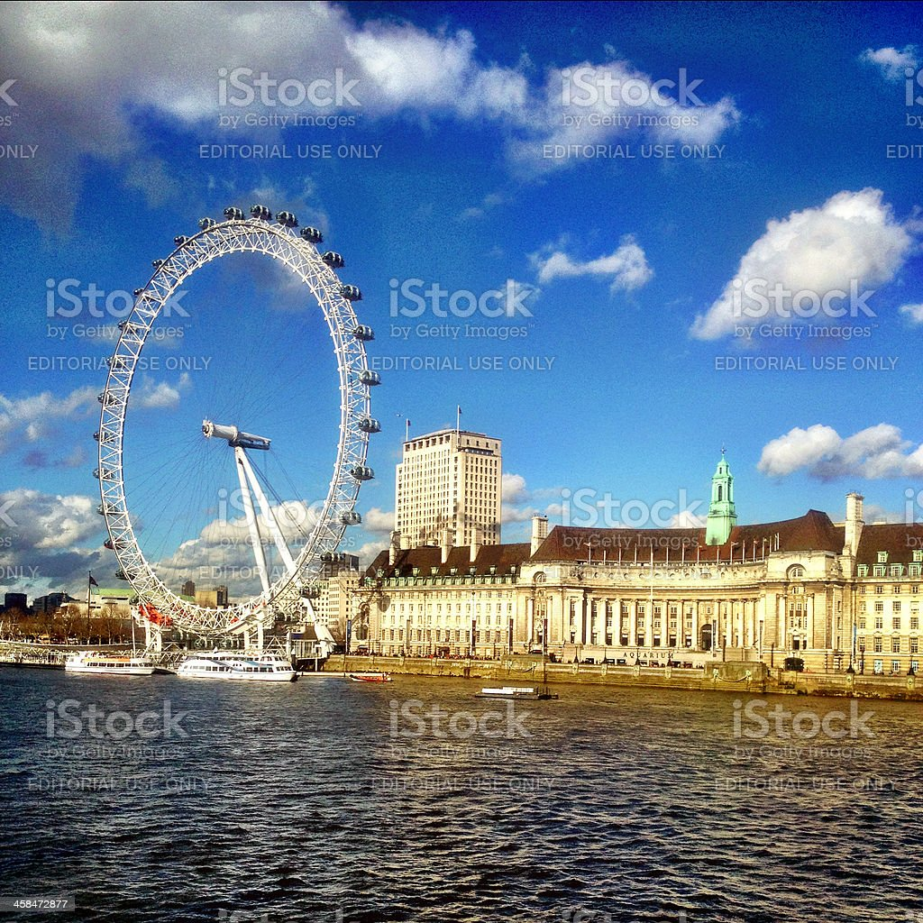 London Eye and County Hall royalty-free stock photo
