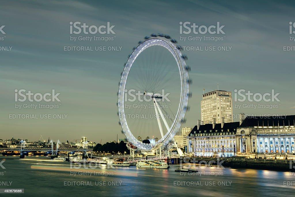 London Eye and Jubilee Gardens at dusk stock photo