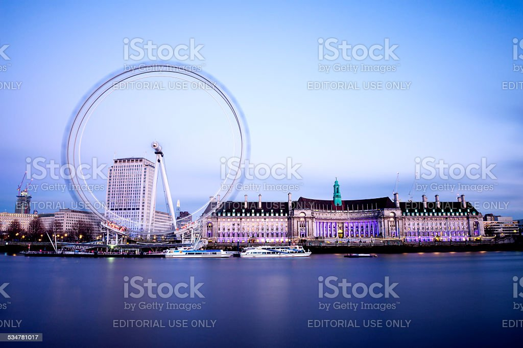 London Eye and the city of London at twilight hour stock photo