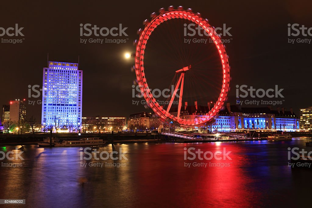 London eye at night stock photo