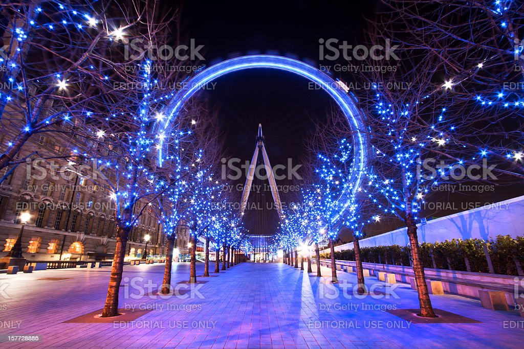London Eye during the Christmas holiday at dusk stock photo