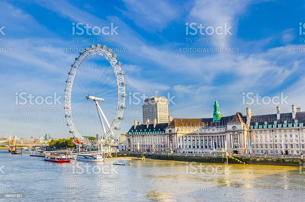 London eye, famous wheel withThames river stock photo