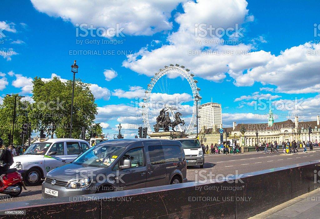 London eye from Westminster Bridge.London, UK stock photo