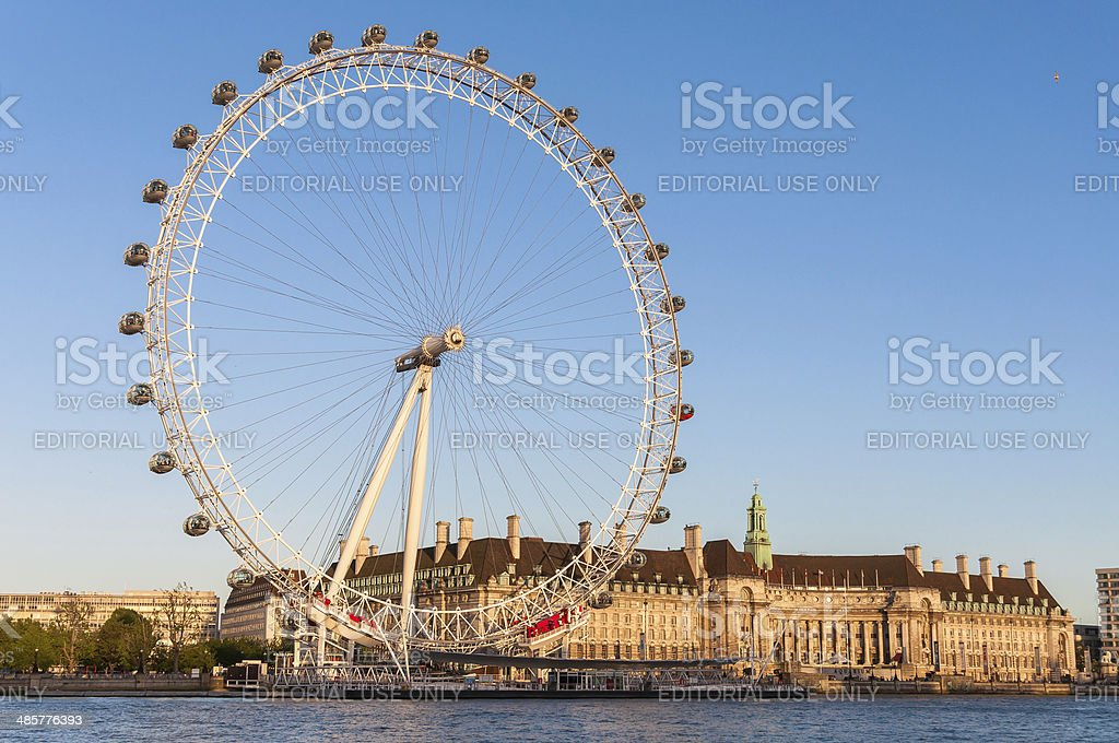 London Eye in afternoon sun stock photo