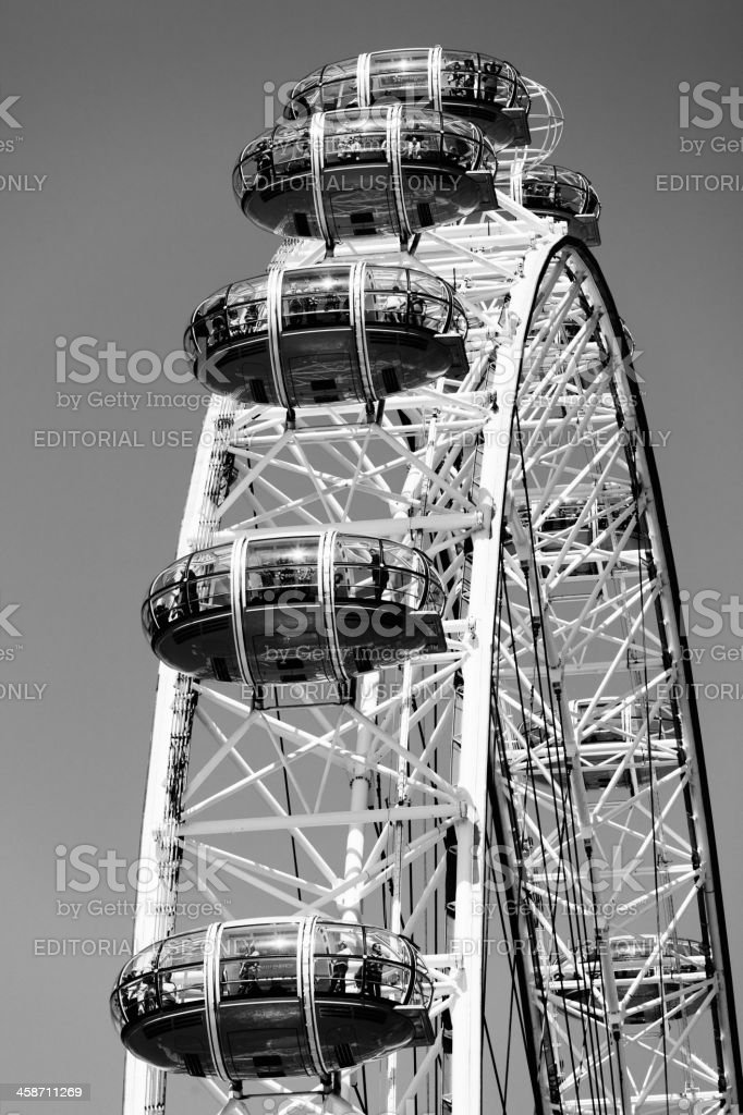 London Eye in Black and White royalty-free stock photo