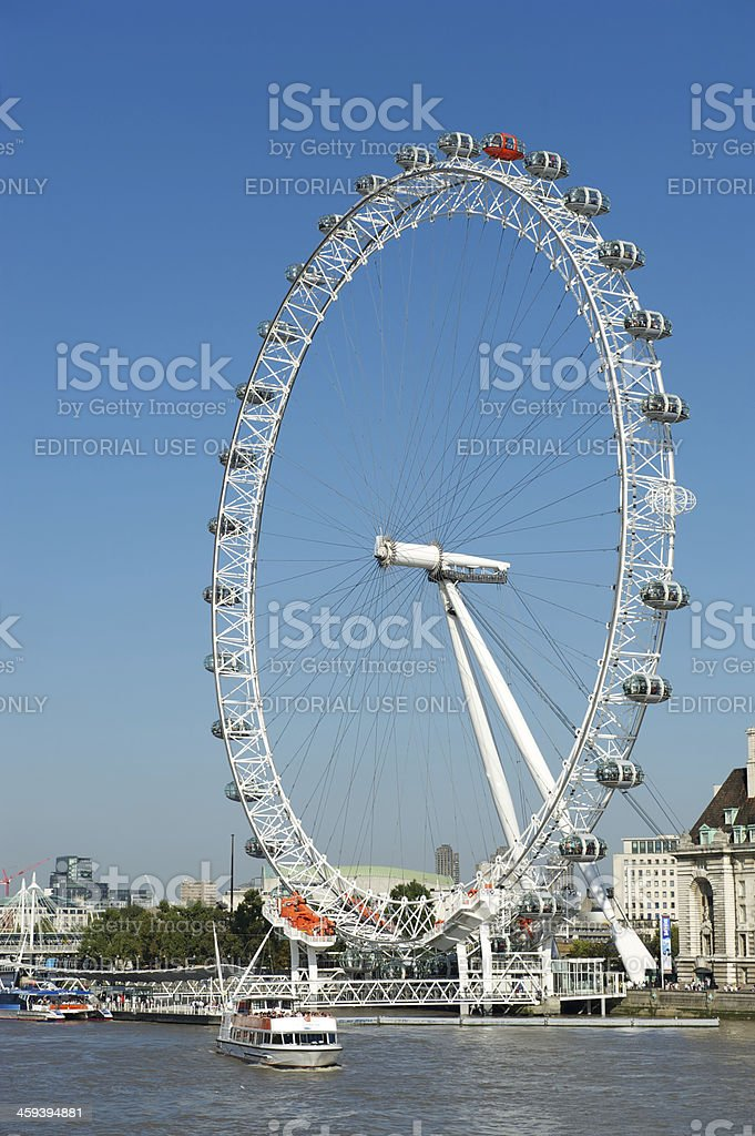 London Eye Millennium Wheel Bright Blue Sky Vertical stock photo