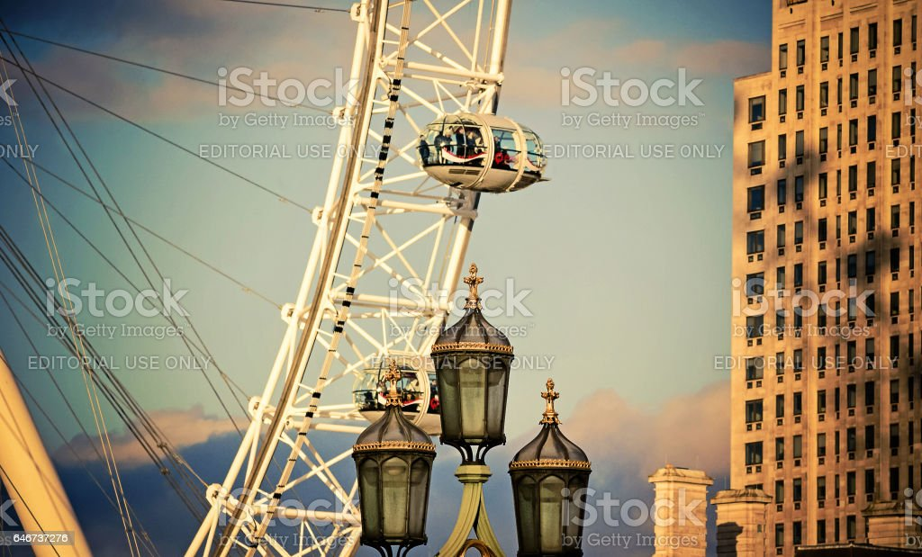 London, UK - February 23, 2016: London Eye, or Millennium Wheel at Jubilee Gardens, on the South Bank of the River Thames. stock photo