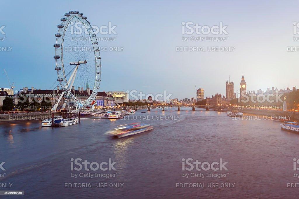 London Eye, Westminster Bridge and Big Ben at dusk stock photo