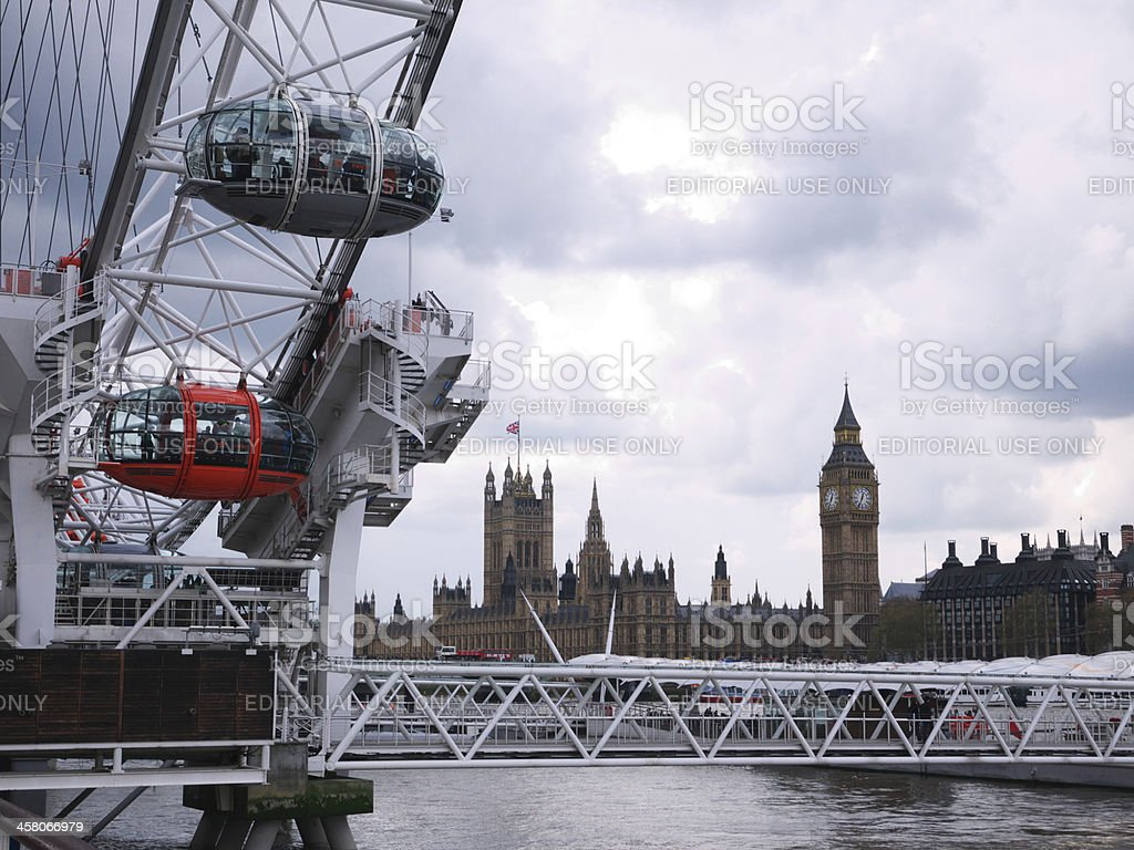 London Eye with Houses of Parliament in the background. royalty-free stock photo