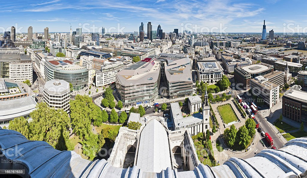 London Financial District skyscrapers rooftop panorama royalty-free stock photo